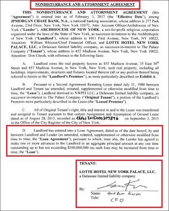▲ 롯데뉴욕팰리스호텔은 지난2017년 2월 토지소유주인 천주교 뉴욕대교구가 대출을 상환하지 못해도 아무런 불이익을 받지 않는다는 조건으로 뉴욕대교구 1억달러 대출에 합의했다.