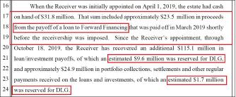 ▲ 다이렉트렌딩 법정관리인은 지난해 10월 25일 3차보고서에서 포워드파이낸싱이 법정관리이전에 2350만달러를 모두 상환했으며, 2019년 10월 18일현재 DL글로벌 상환분으로 960만달러 및 170만달러, 즉 1130만달러를 배정했다고 밝혔다.