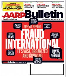 """▲ 미은퇴자협회 AARP는 4월호 커버스토리로 """"국제사기행각""""을 보도했다."""