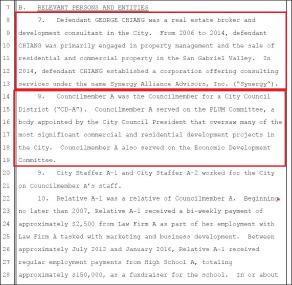 ▲ 조지 창씨는 레이몬드 찬 전 LA시 경제개발담당 부시장과 공모, 부동산 컨설팅회사를 설립한뒤 중국업체로 부터 컨설팅비 명목으로 77만달러를 받았으며, 레이몬드 찬 전 부시장도 11만2천달러의 뇌물을 받은 혐의를 받고 있다.