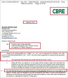 ▲부동산회사 CBRE는 3월 30일 가주마켓측에 보낸 편지에서 가주마켓부동산을 5200만달러에 매각을 추진하겠다고 밝혔고, 이 편지는 법정에 제출됐다.