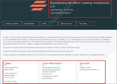 ▲ 다이렉트렌딩 법정관리관련 문서공개 홈페이지 www,stretto.com