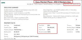 ▲ 부동산중개업체 CBRE는 웹사이트에 가주마켓부동산을 스퀘어피트당 650달러꼴인 5200만달러에 매각한다는 광고를 게재했다.