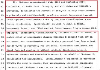 ▲ 레이몬드 찬 전 LA부시장은 지난 2014년 7월부터 9월까지 웨이 황 회장에게 후이저 시의원의 성추행소송 무마를 위해 60만달러 대출 담보를 제공해 주라고 요구했던 것으로 드러났다.