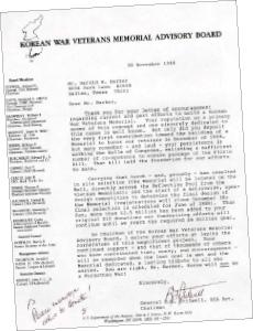 ▲ 한국전쟁기념관 주체 기관이 할 바커가 기념비 창안자라고 인증한 서신내용
