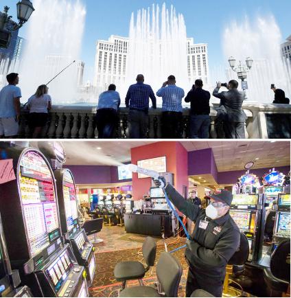 ▲ 오랜만에 스트립의 분수쇼가 힘차게 물능 뿜고 있다(위) 카지노 호텔은 손님들이 게임을 마치면 소독에 나선다.