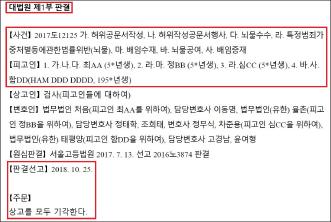 ▲ 한국 대법원은 지난 2018년 10월 25일 검찰의 상고를 기각하고 최윤희 전 합참의장과 함태헌씨등 4명에게 무죄를 선고한 항소심 판결을 확정했다.
