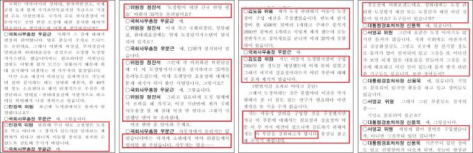▲ 2018년 11월 13일 국회운영위 회의록에는 야당인 민경욱위원과 서영교위원이 오히려 밀어주고 여당 위원장인 정진석위원이 제동을 걸어 의혹을 남겼다.