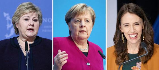 ▲ 코로나19 대응을 잘하는 여성지도자 왼쪽부터 에르나 솔베르그 노르웨이총리, 메르켈 독일총리, 아던 뉴질랜드 총리.