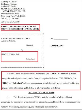 ▲ LPGA는 지난 4일 뉴욕남부연방법원에 JTBC PLUS를 상대로 체납중계료 지급 및 계약해지 유효소송을 제기한 것으로 확인됐다.
