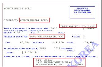 ▲ 뉴저지주 유니언카운티정부가 지난 2월 11일자로 발행한 제이슨 리 소유주택의 재산세과표 산정통보서