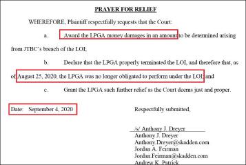 ▲ LPGA는 소송에서'JTBC는 의향서 파기에 따른 경제적 손실을 배상하고, 의향서는 적법한 절차를 걸쳐 해지됐고, LPGA는 더이상 의향서 의무조항 이행의무가 없음을 인정하며, LPGA의 법률비용 전액을 지급하라'고 요구했다.