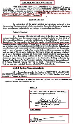 ▲ 뉴욕한인제일교회와 리우 홍지씨의 2019년 1월 21일자 부동산매매계약서, 윤씨가 교회이사회 대표의 자격으로 서명했다.