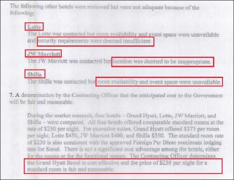 ▲ 미국무부는 지난해 6월 11일 작성한 호텔선정승인서에서 '미국국가수반 방한과 관련, 6월 14일부터 7월 15일까지 그랜드하얏트호텔로 부터 객실 350개를 약 47만달러에 매입하기로 결정했다'고 밝혔다.