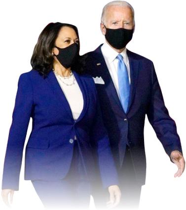 ▲ 민주당 대선후보 조 바이든과 부통령후보 카마라 해리스