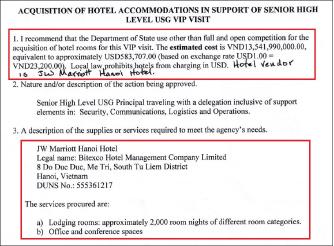 ▲ 미국무부는 지난 2019년 2월 19일 호텔선정승인서에서 '미국정부수반 방문과 관련, 베트넘 하노이의 메리엇호텔 갤실 2천개를 58만여달러에 구매하기로 결정했다'고 밝혔다.