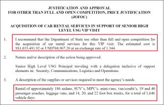 ▲ 미국무부는 지난 2018년 5월 22일 차량대여승인서를 통해 세단등 186대를 비롯해 1646일치차량대여[모든 차량 * 대여일수]를 위해 77만달러를 지출한다고 밝혔다.