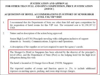 ▲ 미국무부는 지난 2018년 5월 28일 호텔선정승인서에서 '미국정부수반 방문과 관련, 싱가폴의 샹그리라호텔 객실 250개를 113만달러에 구매하기로 결정했다'고 밝혔다.