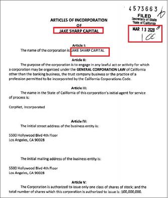 ▲ 제이크샤프캐피탈은 지난 3월 13일 캘리포니아주에 설립된, 업력 7개월의 업체로 확인됐다.