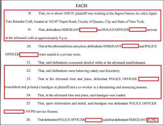 ▲ 뉴욕주 퀸즈카운티법원에 소송을 제기한 A씨는 지난해 10월 8일 오후 9시쯤 한인경관 2명이 술을 마시며자신과 동료종업원을 권총으로 위협했다고 주장했다.