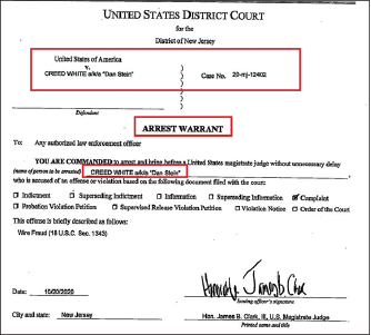 ▲ 뉴저지연방법원은 지난달 20일 크리드 화이트에 대한 체포영장을 발부, 11월 4일께 신병을 확보한 것으로 드러났다.