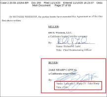 ▶제이크 샤프 캐피탈을 대표해 매매계약서 및 수정매매계약서에 서명한 사람은 라파엣 잭슨 샤프로 확인됐다.