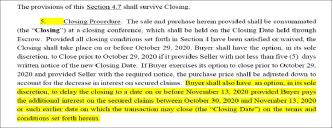▲ 가주마켓과 제이크 샤프 캐피탈이 10월 15일 체결한 당초 매매계약서, 당초는 10월 30일로 예정된 클로징을 이자부담등의 조건으로 11월 13일로 연기할 수 있는 옵션이 포함됐다.