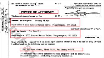 ▲ 김웅기회장은 1999년 뉴저지주 리버베일주택매입때 매입업무를 모두 자신의 부인인 김수남여사에게 위임한 것으로 확인됐다.