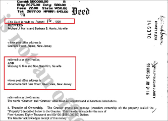 ▲ 김웅기회장과 부인 김수남여사는 지난 1999년 8월 뉴저지주 리버베일의 주택을 58만달러에 매입했다.