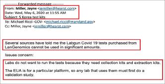 ▲ 지난 5월 6일 한 언론매체는 메릴랜드주정부에 이메일을 보내 '랩지노믹스의 코로나19 진단키트의 많은 양이 연구소에서 검사에 사용할 수 없는 상황이며, 검체 채집 및 축출장비가 필요한 실정'이라고 지적하고, 해명을 요구했다.