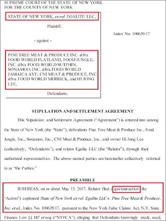 ▲ 뉴욕주 검찰은 한인수퍼마켓업자인 이희종씨가 4개 수퍼마켓을 운영하며 판매세와 소득세등을 탈세한 혐의가 적발됐다며 7일 합의문을 공개했다.