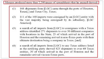 ▲ 텍사스주 제1항소법원은 지난해 12월 15일 토미 모건측이 관세관련 자료 2천여페이지를 제출, LG화학과 텍사스주와의 연관성을 설명했다고 밝혔다.
