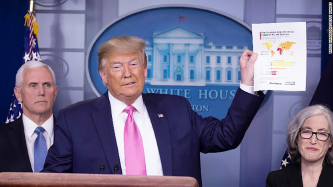 """▲ 트럼프는 코로나 19  대응에서 """"통제하고 있다""""고 밝혀 미국을 통제불능으로 몰아 넣었다."""