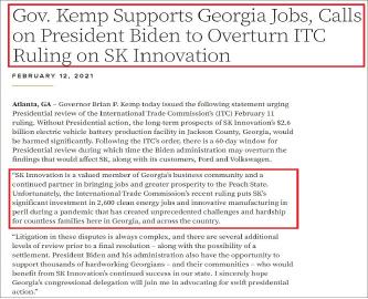 ▲ 브라이언 켐프 조지아주 주지사는 지난 12일 SK이노베이션이 조지아주에 26억달러를 투입, 전기배터리공장을 짓고 있다며 바이든 대통령에게 국제무역위원회 판결을 뒤집어 달라고 요청했다.