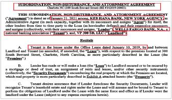 ▲ 하나대체투자자산운용에 1억3천만달러를 빌려준 KEB하나은행은 지난 1월 21일 세입자인 웰스파고은행와 '소유주가 대출금을 연체하거나 갚지 못하더라도 세입자의 임대권리를 인정한다'는 합의서를 체결했다.