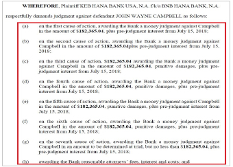 ▲KEB하나은행은 캠벨 전행장이 개인용도로 부당하게 지출한 13만여달러에, 미사용휴가에 대한 보상명목으로 받은 5만달러등 18만여달러를 배상하라고 요구했다.