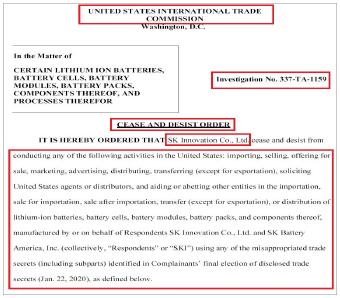 ▲ 국제무역위원회는 지난 10일 SK이노베이션에 LG측 영업비밀의 부적절한 사용과 관련된 전기배터리의 수입과 판매, 마케팅, 광고등을 10년간 금지한다고 명령했다.