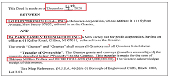 ▲ 박화영회장이 2011년 설립한 비영리단체 '파박패밀리파운데이션'이 지난해 12월 4일 엘지전자 미국법인으로 부터 1000실반애비뉴 엘지전자 구사옥을 1300만달러에 매입했다.
