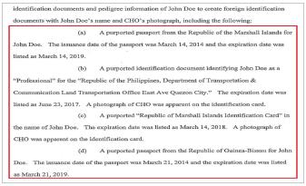 ▲ 뉴욕동부연방검찰은 지난 26일 조씨의 신병을 확보한뒤 공개한 기소장에서 '조씨가 조사대상인 존도의 명의를 이용해 조세피난처 2개국가의 여권을 위조하고, 신분증등도 위조한 혐의를 받고 있다'고 밝혔다.