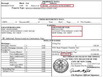 ▲ 조씨와 부인은 지난 2019년 11월 뉴욕 어퍼이스트사이드의 코압을 165만달러에 매입한 것으로 확인됐다.