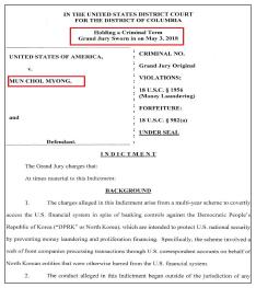▲ 미국 사법당국은 지난 2018년 5월 3일 연방대배심에 문씨를 돈세탁 혐의로 기소한 것으로 확인됐으며, 이 기소장은 문씨의 미국 송환 이후인 지난 3월 22일 공개됐다.