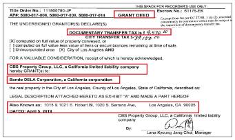 ▲ 반도델라주식회사는 지난 2019년 4월 5일 2030만달러에 1011 사우스 호발트블루버드등의 부동산을 매입하고 같은 해 7월 5일 로스앤젤레스카운티 등기소에 등기를 마쳤다.