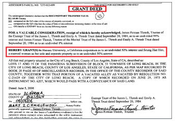 ▲ 한서유니버시티 및 한승희씨는 지난 2008년 8월 13일 로스앤젤레스카운티에 등기된 매매계약서[DEED 권리증서]에서 캘리포니아주 롱비치의 721파인애비뉴소재 주택을 50대 50지분으로 매입한 것으로 확인됐다.