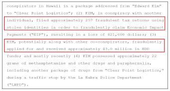 ▲ 연방검찰은 지난 3월 16일 기소장에서 '에드워드 김씨가 에디 김이라는 이름으로 마약밀매를 했으며, 다른사람의 신분을 도용해 297명의 연방재난지원금을 신청, 2만 1600달러를 받았고, 약 4백명의 신분을 도용, 3백만달러상당의 실업수당을 가로챈 혐의를 받고 있다'고 밝혔다.