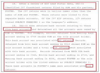 ▲ 연방검찰은 김씨가 자신이 소유한 은행계좌로 171건, 자신의 미국인여자친구 소유의 은행계좌로 126건의 연방재난지원금을 신청헸다고 밝혔다.