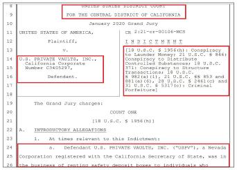 ▲ 연방검찰은 지난 3월 9일 유에스프라이빗볼트를 돈세탁등의 혐의로 비공개기소한뒤 지난 22일 법원승인을 받아, 대여금고 전체를 몽땅 압류했다.