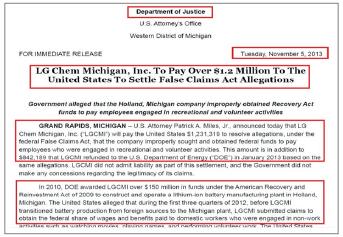 ▲ SK가 배터리공장을 짓는 조지아주 출신 덕 콜린스 하원의원은 지난해 8월 26일 연방이민세관단속국과 세관국경보호국에 서한을 보내 'SK의 불법노동자 고용의혹에 대한 조사'를 촉구했고, LG는 나흘 뒤인 지난해 9월 1일 이 서한을 국제무역위원회에 제출한 것으로 확인됐다.
