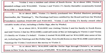 ▲ 브라이언 워시의 기소장에 따르면, 삼칭기업은 2007년 독일에서 앤디 워홀의 새도우 연작  2점등을 매입한뒤, 2011년 브라이언 워시에게 워홀의 작품 3점과 케이스 하링의 작품 2점, 중국 도자기 1점등의 판매를 의뢰했으나, 워시는 돈을 돌려주지 않고, 이들 그림도 돌려주지 않은 혐의를 받고 있다.