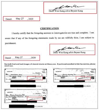 ▲ 상단 첫번째와 두번째는 지난 2020년 5월 27일 강덕원씨가 뉴저지주 버겐카운티법원에 제출한 진술서 이며 하단은 강씨가 서명한 수표로, 78로버츠로드유한회사발행 150만달러짜리 수표에 나타난 서명과 정확히 일치한다.이 아닌 강덕원씨로 드러났다.