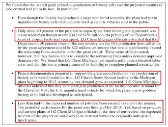 ▲ 연방에너지부 감사결과에 따르면 LG는 장려금 1억 5100만 달러 중 94%인 1억 4200만 달러 상당을 받았으나, 공장건설은 당초 약속의 60%만 진척됐으며, 연방장려금 상당부분을 영화를 보고, 게임을 즐기는등 일하지 않는 인력에게 지급한 것으로 드러났다고 밝혔다.